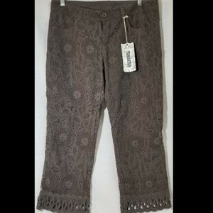 """NEW - Monoreno Olive Floral Pants - Waist 34"""""""